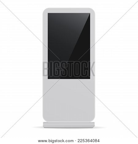 Digital LCD display mockup isolated on white background. Vertical advertising billboard. Vector illustration