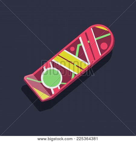 Pink hover board on dark-blue background. Air board mockup. Concept of the future. Vector illustration