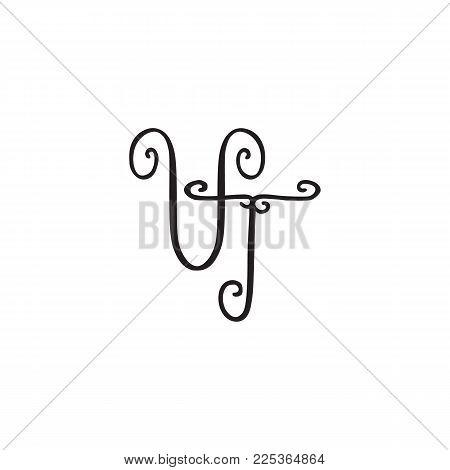 Handwritten monogram VT icon, logo with swirls isolated on white background