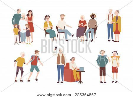 Collection of happy elderly people performing daily activities - rollerskating, going camping, spending time with family. Set of smiling old men and women. Colorful flat cartoon vector illustration