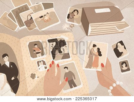 Woman's hands holding old photographs, sorting them out and attaching to pages of photographic album or photo book. Keeping in order pictures with family memories. Colored cartoon vector illustration
