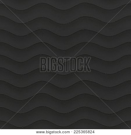 Dark Grey Black Seamless Wavy Stone Texture Background Pattern. Gypsum Plaster Stucco Seamless Wavy