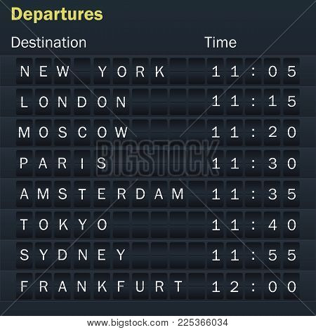 Destination information display board. Display schedules with cities. Vector illustration