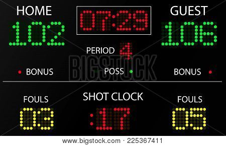 Sports statistics: score, time, period, fouls. Electronic scoreboard mockup. Vector illustration