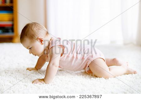 Adorable crawling baby girl's portrait at home. Little funny girl lifting body and learning to crawl.