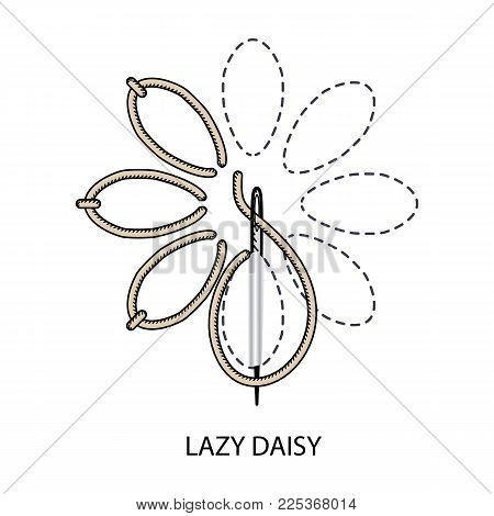 Stitches Type Vector. Collection Of Thread Embroidery And Sewing Stitches. Vector Illsutration Of St