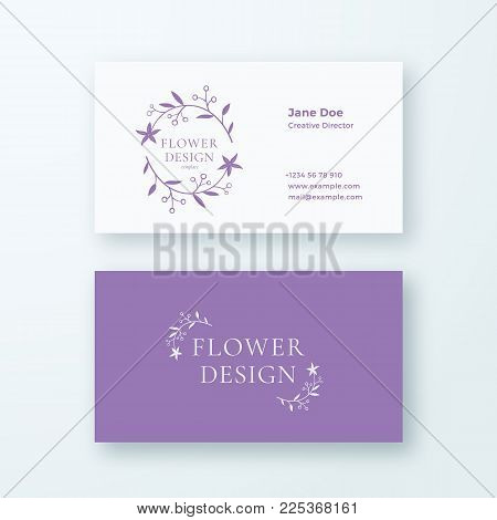 Abstract Feminine Flower Branch Vector Sign or Logo and Business Card Template. Premium Stationary Realistic Mock Up. Modern Typography and Soft Shadows. Good for Flower or Wedding Business. Isolated.