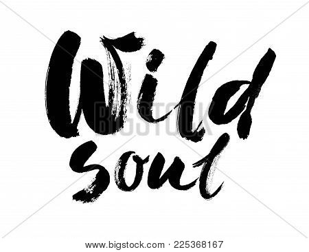 Wild soul vector lettering illustration. Hand drawn phrase. Handwritten modern brush calligraphy for invitation and greeting card, t-shirt, prints and posters