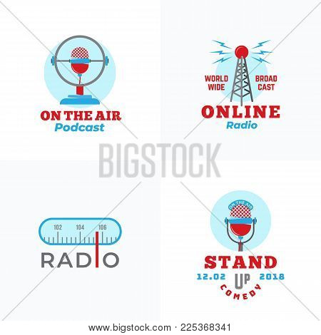 A set of Radio Vector Emblems. Abstract Broadcast Tower, Podcast or Stand Up Comedy Microphone Signs or Logo Templates. Radio Scale and On the Air Symbols. Isolated.
