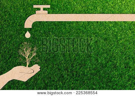 Ecology Concept Paper Cut Droplet Tap Live Water Save Of Environment Arid Tree
