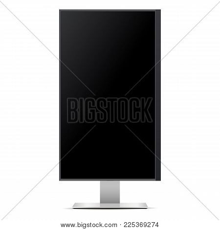 High TV screen isolated on white background. Mockup monitor can be used to demonstrate advertising or screenshots of your web projects. Vector illustration