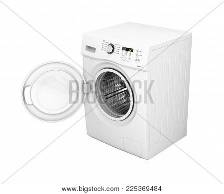 Washing machine with an open door without shadow on a white wall background 3d illustration
