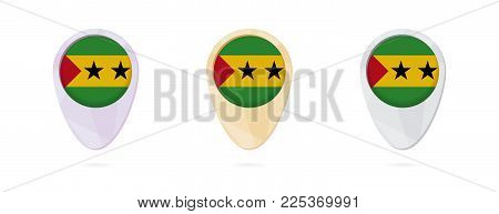 Map markers with flag of Sao Tome and Principe, 3 color versions.