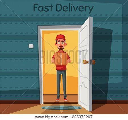 Delivery guy handing a box on doorway. Cartoon vector illustration. Delivery order. Open door. Inside of home.