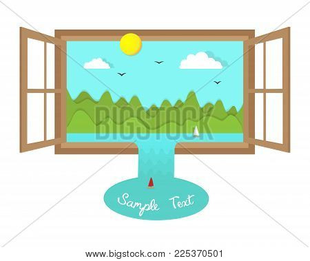 Surreal landscape in open window with place for text eco concept paper cut illustration