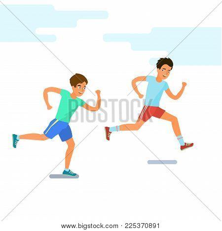 Concept of Sport and activity people. Two men running. Jogging cartoon character. Sprint marathon. Flat design, vector illustration.