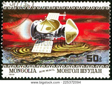 Ukraine - circa 2018: A postage stamp printed in Mongolia show interplanetary station Mars-3. Series: Air Mail. Apollo 11 Moon Landing 10th Anniversary. Circa 1979.