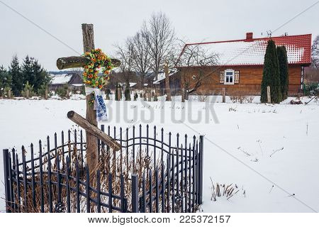 Traditional Wooden Cross In Soce Village In Podlasie Region Of Poland