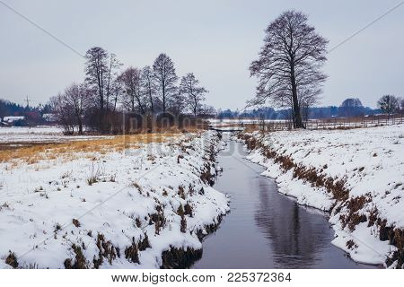 Small River Rudnia In Soce Village, Podlasie Region Of Poland