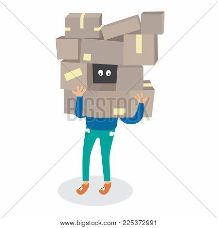 cartoon man holding a lot of boxes vector shopping illustration isolated