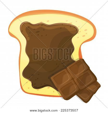 Slice vector of bread or toast with a brown sweet chocolate isolated illustration. tasty spreading a slice of bread