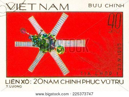 Ukraine - circa 2018: A postage stamp printed in Vietnam show Molniya 1 satellite. Series: 20 Years of Space Exploration. Circa 1978.
