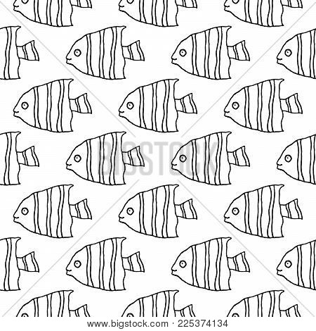 Sweet cartoon fish pattern with hand drawn funny fish. Cute vector black and white fish pattern. Seamless monochrome fish pattern for fabric, wallpapers, wrapping paper, cards and web backgrounds.