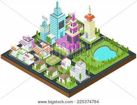 Graphic city building, real estate, house and cityscape architecture with clean wind energy environment and nature in 3D isometric design in isolated background, create by vector