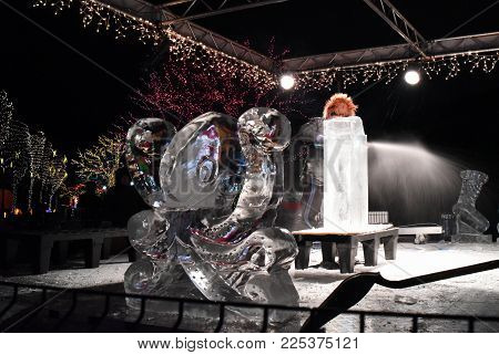 Octopus Ice Sculpture With Individual Cutting Ice For An Ice Sculpture Demonstration At Zoo Lights,