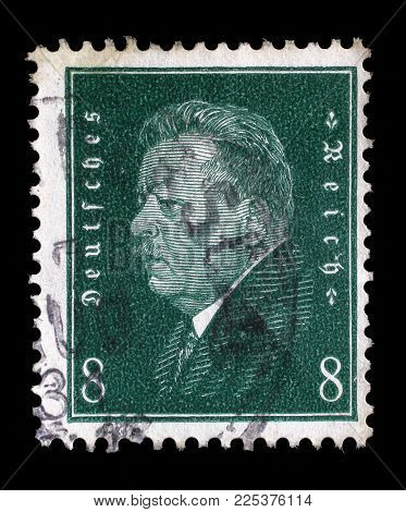 ZAGREB, CROATIA - JUNE 22, 2014: A stamp printed in the German Reich shows Friedrich Ebert (1871-1925), 1st President of the German Reich, circa 1928.