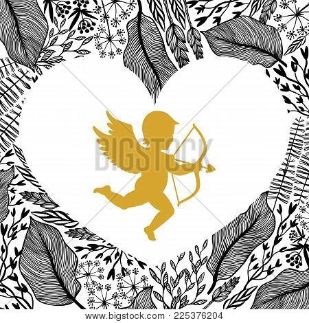 Gold Cupid with arrow and bow, floral frame in heart shape.. Amour Silhouette for Happy Valentines day decorations or greetings. Angel on Herbal background. vector illustration.