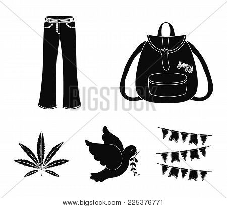 A Cannabis Leaf, A Dove, Jeans, A Backpack.hippy Set Collection Icons In Black Style Vector Symbol S