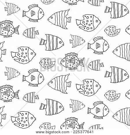 Sweet Cartoon Fish Pattern With Hand Drawn Funny Cute Vector Black And White