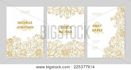 Bundle of wedding invitation card templates decorated with beautiful blooming lotus flowers, buds and leaves hand drawn with golden contour lines on white background. Natural vector illustration