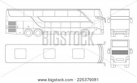 Double-deck multi-axle luxury touring coach. Commercial vehicle. Intercity bus vector illustration