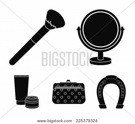Table Mirror, Cosmetic Bag, Face Brush, Body Cream.makeup Set Collection Icons In Black Style Vector