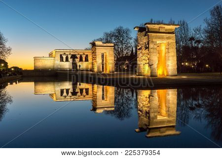 MADRID, SPAIN - JANUARY 21, 2018:  Sunset view of Temple of Debod in City of Madrid, Spain