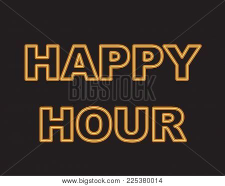 Yellow neon text, happy hour. Vector illustration