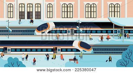 Trains stopped against railway station building on background, people walking and waiting on platform covered by snow. Passenger rail transport, railroad transportation. Hand drawn vector illustration