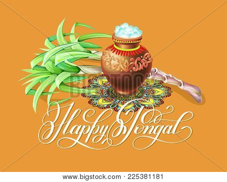 Happy pongal greeting card south vector photo bigstock happy pongal greeting card to south indian winter holiday design vector illustration m4hsunfo