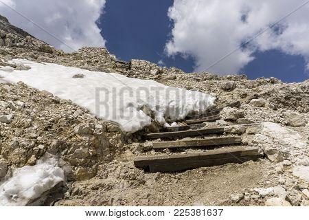 A rocky landscape at the summit of Sass Pordoi. Dolomites. Italy.