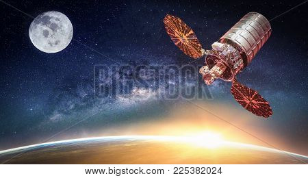 Landscape With Milky Way Galaxy. Sunrise, Satellite And Earth View From Space With Milky Way Galaxy.
