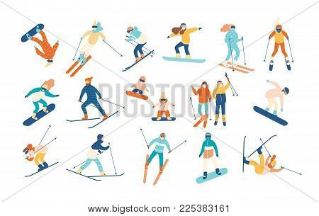 Adult people and children dressed in winter clothing snowboarding and skiing. Male and female cartoon ski and snowboard riders. Winter mountain sports activity. Vector illustration in flat style