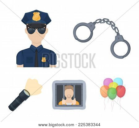 Handcuffs, Policeman, Prisoner, Flashlight.police Set Collection Icons In Cartoon Style Vector Symbo