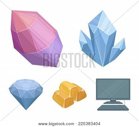 Crystals, Minerals, Gold Bars. Precious Minerals And Jeweler Set Collection Icons In Cartoon Style V