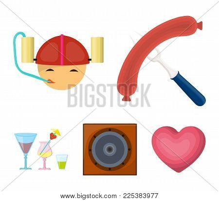 Fried Sausage, Beer Helmet, Cocktails, Speaker.pub Set Collection Icons In Cartoon Style Vector Symb