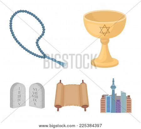 A Cup Of Wine, Islamic Beads, Ten Commandments, Tanakh. Religion Set Collection Icons In Cartoon Sty