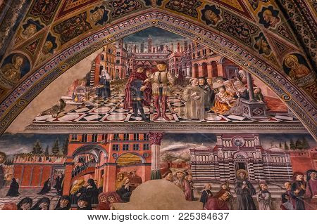 Interiors And Decors Of The Baptistery, Siena, Italy