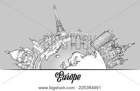 European Sketched Landmarks on Globe. Hand drawn outline illustration for print design and travel marketing