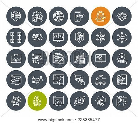 Thin line cryptocurrency icons set. Premium quality outline symbol collection of blockchain technology, bitcoin, altcoins, mining, finance, digital money market, cryptocoin wallet, stock exchange.